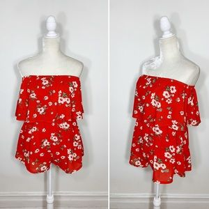 SEEK THE LABEL red floral strapless shorts romper